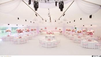 Hala namiotowa na przepiękne wesele plenerowe w blado różowej dekoracji.