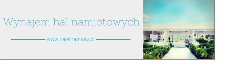 Reklama strony haleinamioty.pl, zapewniającej wynajem hal namiotowych.